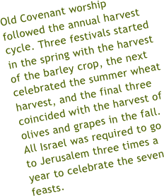 "Old Covenant worship followed the annual harvest cycle. Three festivals started in the spring with the harvest of the barley crop, one more celebrated the summer wheat harvest, and the final three coincided with the harvest of olives and grapes in the fall. All Israel was required to go to Jerusalem three times a year for a nationwide gathering or ""convocation,"" to celebrate the seven feasts."